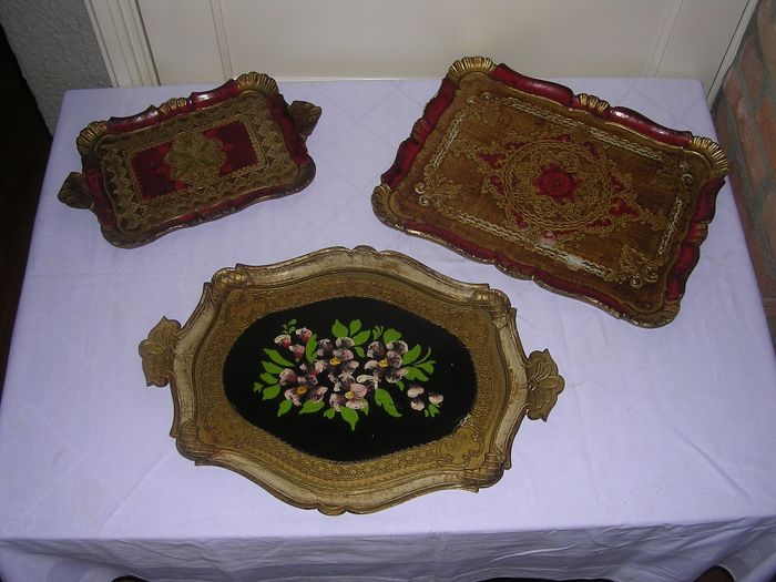 Trays (3) - Baroque - Wood