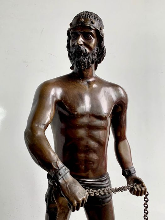 Sculpture, a warrior with a morning star - 76 cm (1) - Bronze - Second half 20th century