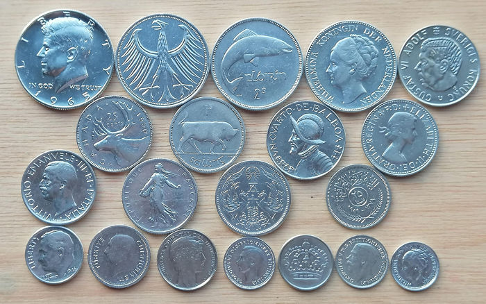 World - Lot various coins 1909/1967 (20 pieces)  - Silver