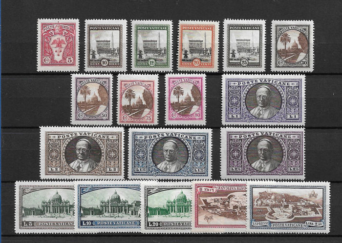 Vatican City 1933 - Gardens and Medallions 18 values with express stamps - Sassone  N. 19/34+Exp 3/4
