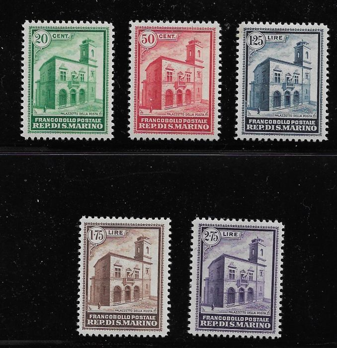 San Marino 1932 - Post office building, 5 values - Sassone NN. 159/163