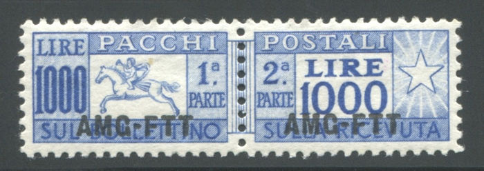 Triest - Zone A 1954 - AMG-FTT - 1,000 lire parcels little horse - Sassone N. PP26