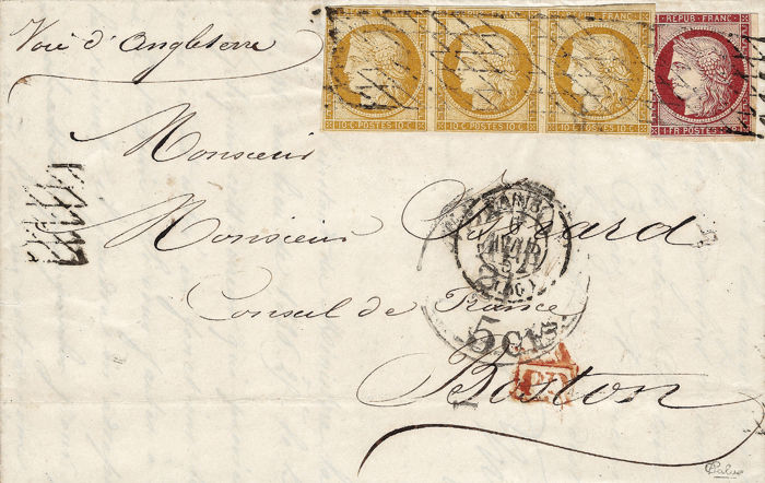 France 1852 - Cérès 10 cents bistre strips of 3 and 1 Franc Carmine on  letter for Boston - Yvert 1 - 6 - Catawiki