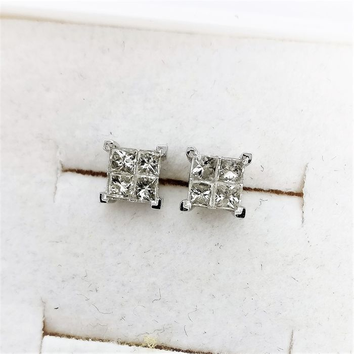 14 carats Or blanc - Boucles d'oreilles - 0.60 ct Diamant
