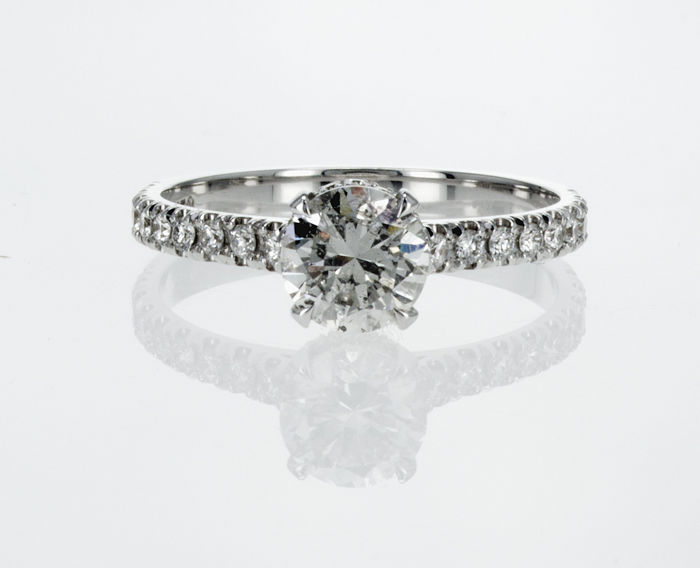 18 kt. White gold - Ring - 1.25 ct Diamond - D/SI1