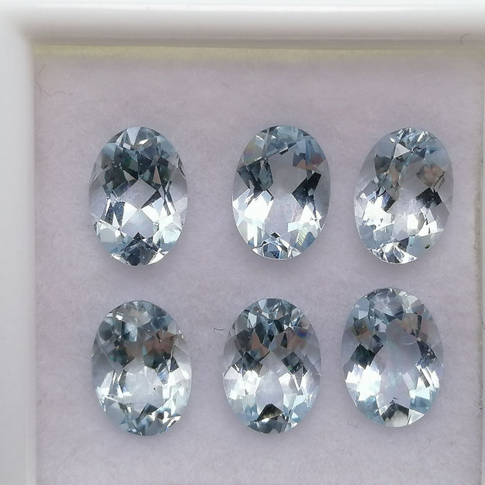 6 pcs  Aquamarijn - 4.04 ct