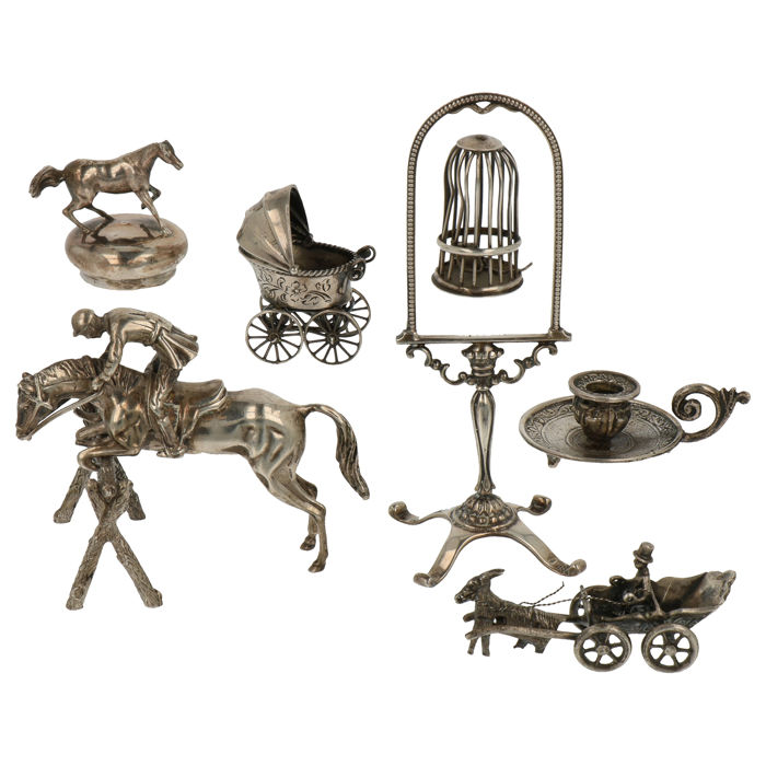 Silver miniature (6) - .800 silver, .835 silver - o.a. Lesener Amsterdam - The Netherlands and Italy - mid 20th century