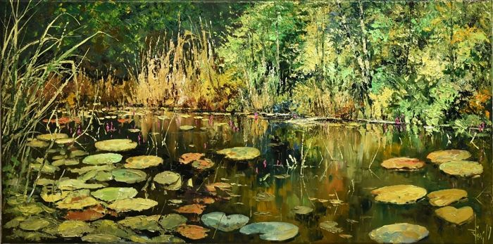 Jacek Lacky - Bay of autumn water lilies, impression