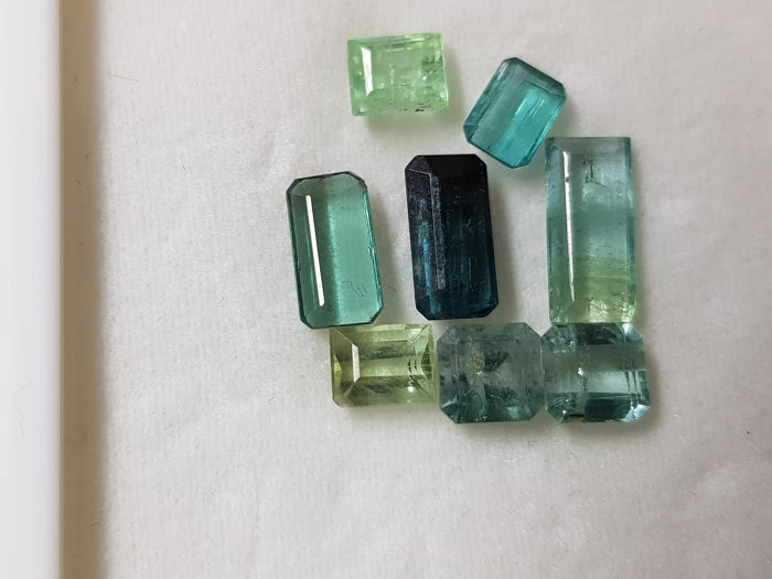 8 pcs Blue, Green Tourmaline - 6.10 ct