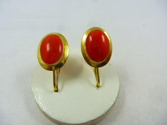 18 kt. Gold - Earrings red coral