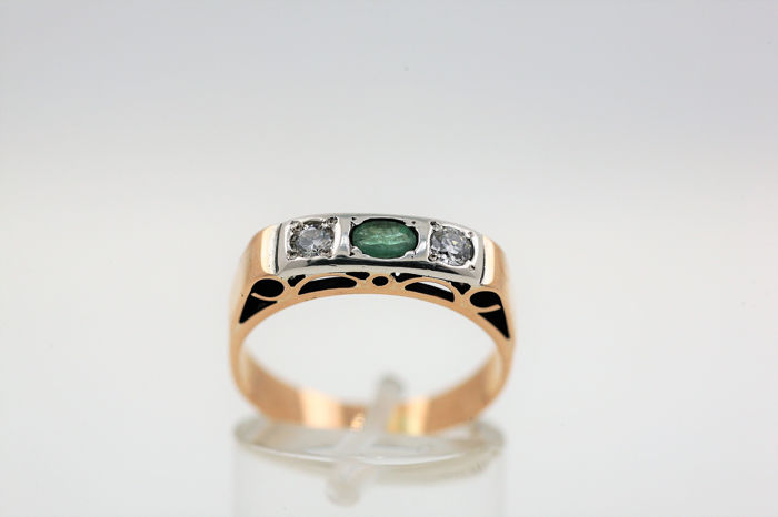 18 kt. White gold, Yellow gold - Ring - 1.20 ct Diamond - Emerald