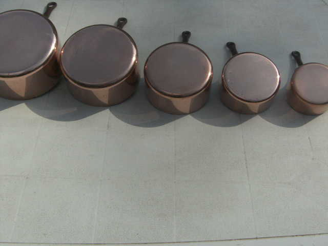 set of 5 tinned copper pans wrought iron handle - Copper