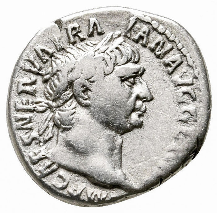 Empire romain - Denarius - Trajan (98-117 A.D.) Rome 101-102 A.D. - P M TR P COS IIII P P, Victory standing to right on prow. - Argent