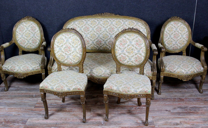Phenomenal Living Room One Sofa Two Armchairs And Two Chairs Louis Xvi Style Gilt Textiles Wood Ca 1900 Catawiki Gamerscity Chair Design For Home Gamerscityorg