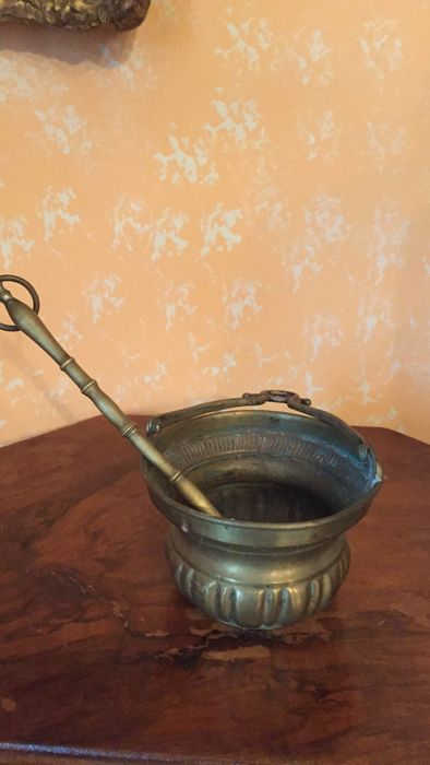Holy water sprinkling + water bucket (2) - Brass