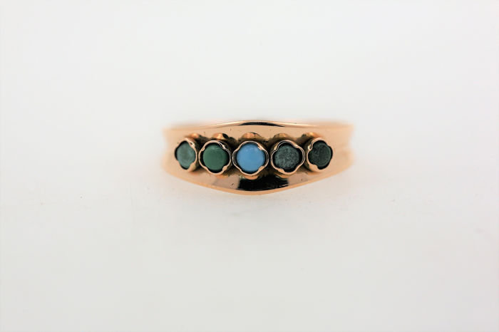 18 kt. Gold - Ring - 0.25 ct Turquoise
