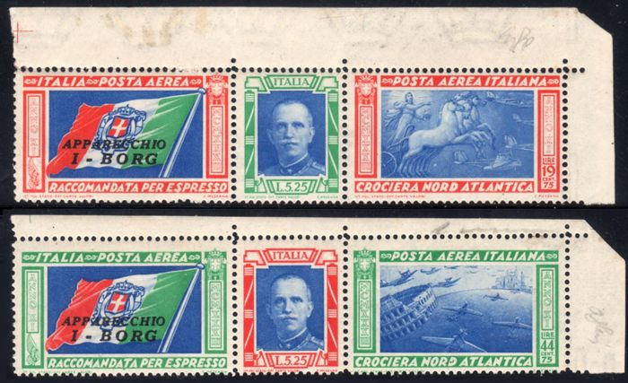 Italy Kingdom 1933 - North Atlantic Cruise Triptychs I-BORG sheet corner - Sassone NN. 51D/52D