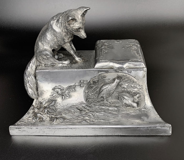Inkstand - Fox hunting for partridges - Silver plated - Late 19th century