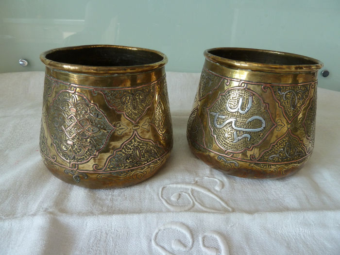 pair of old handmade containers with silver inserts (2) - copper brass silver