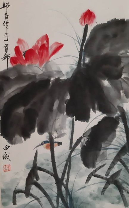 Ink painting - Chinese scroll painting on paper - China - Late 20th century