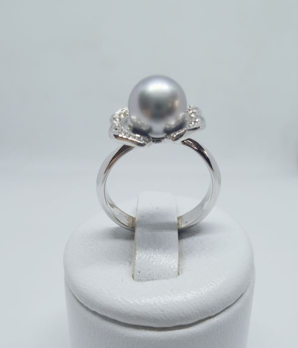 18 kt. White gold - Ring pearl - Diamonds
