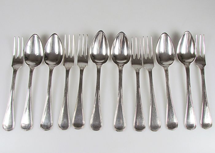 6 silver dessert place settings - .835 silver - Fa. J.M. van Kempen & Zn - Netherlands - mid 19th century