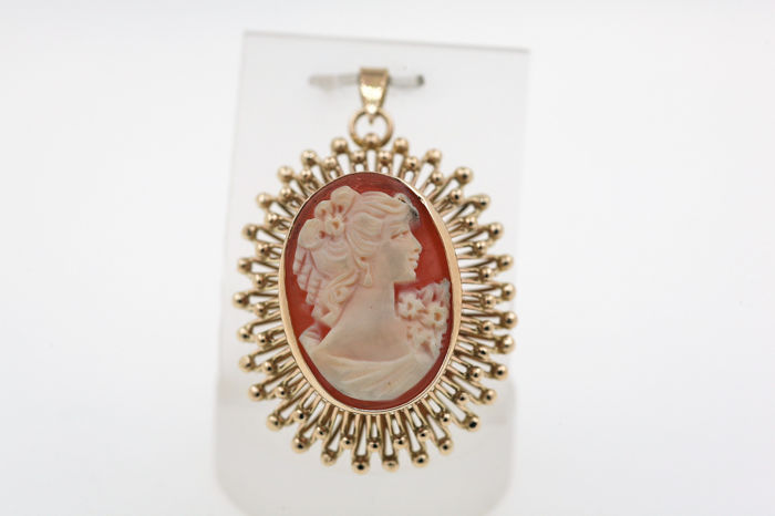 14 kt. Yellow gold - Pendant Cameo
