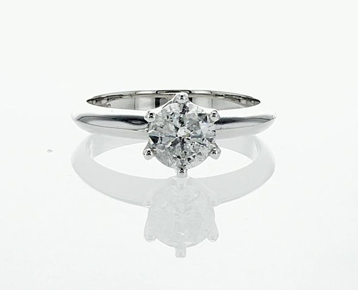 14 quilates Oro blanco - Anillo - 1.00 ct Diamante - F / SI2