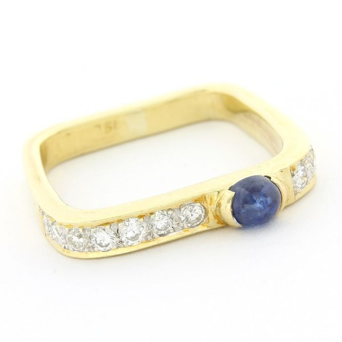 18 quilates Oro amarillo - Anillo - 0.33 ct Diamante - Zafiro