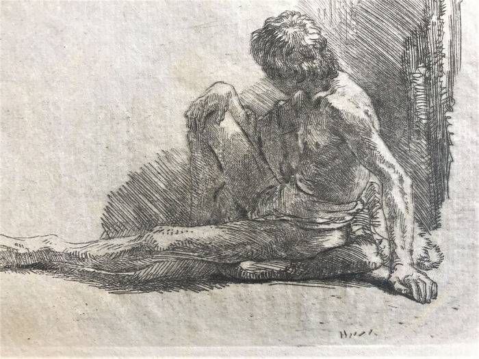 Rembrandt Harmensz van Rijn (1606-1669) - Nude man seated on the ground with one leg extended
