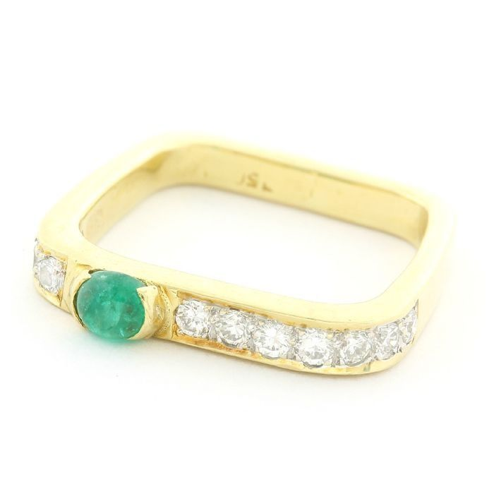 18 quilates Oro amarillo - Anillo - 0.33 ct Diamante - Esmeralda