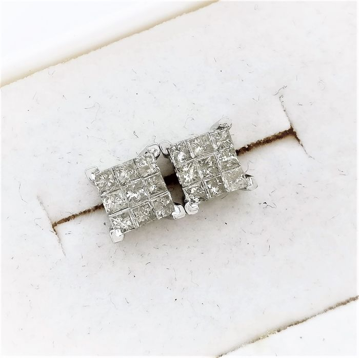 14 kt. White gold - Earrings - 0.60 ct Diamond