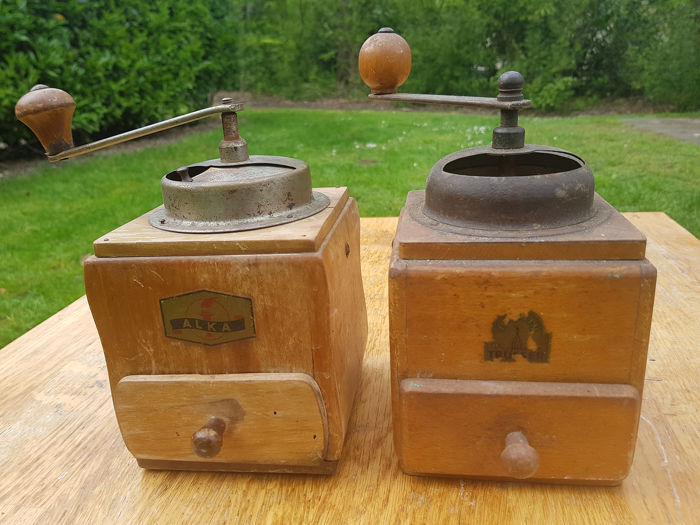 coffee grinder (2) - Iron (cast/wrought), Wood