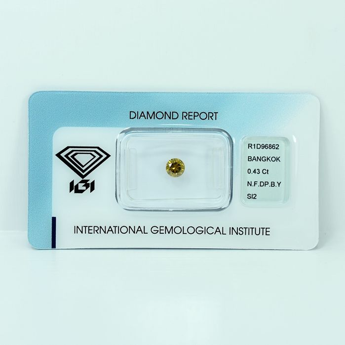 Diamante - 0.43 ct - Brillante - Natural Fancy Deep Brownish Yellow - Si2 - NO RESERVE PRICE