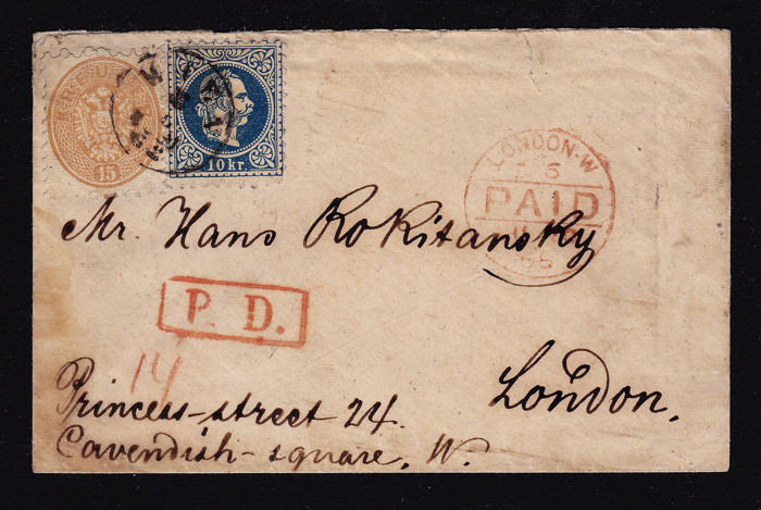Austria 1868 - Complete foreign letter, mixed franking 1863/64 + 1867, 10 + 15 kr