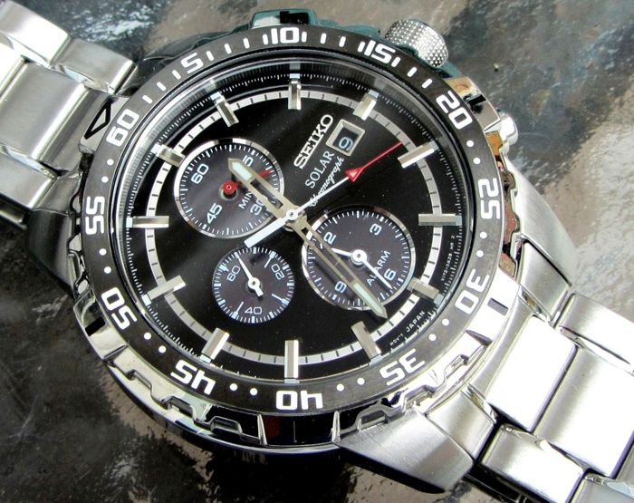 "Seiko -  ""NO RESERVE PRICE"" Solar Alarm Chronograph Date Watch - SSC299P1 / V172-0AT0 - Heren - 2011-heden"