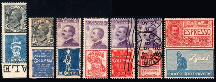 Italy Kingdom 1924 - 7 different advertising stamps - Sassone NN. 1, 2, 11, 12, 16, 18, 21