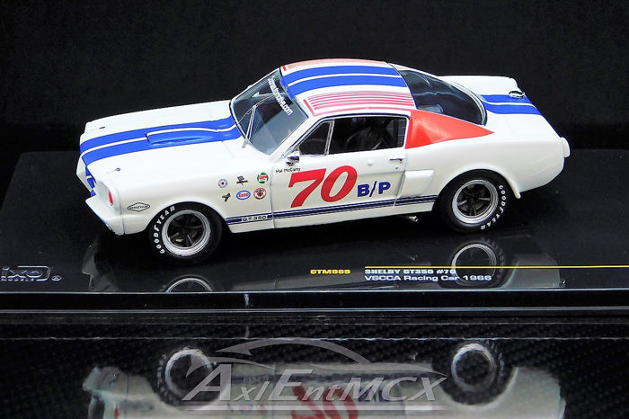 IXO - 1:43 - Ford Mustang GT350 Shelby 1966 - 293 cu in (4.7 L) Windsor K-Code V8 4-barrel carb  - VSCCA - Cobra-Automotive # 70 - Hal McCarty