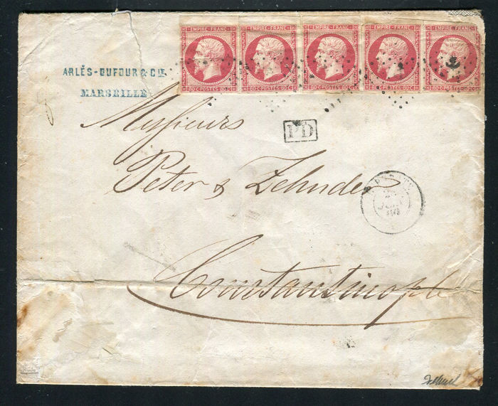 Frankreich 1860 - Rare letter from Marseille to Constantinople with 5 No. 17B -stamp of the Euphrates steamship Signé Calves