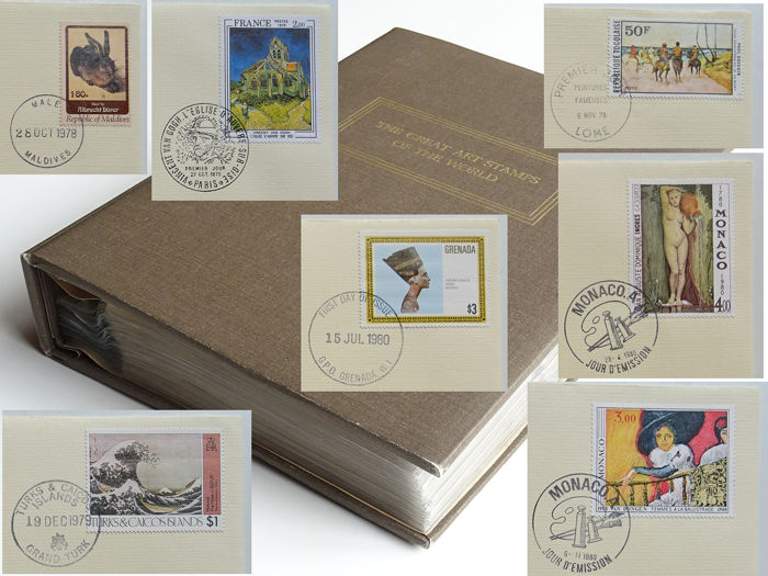 "Wereld - ""Great Art Stamps of the World"", Complete Franklin Mint collectie"