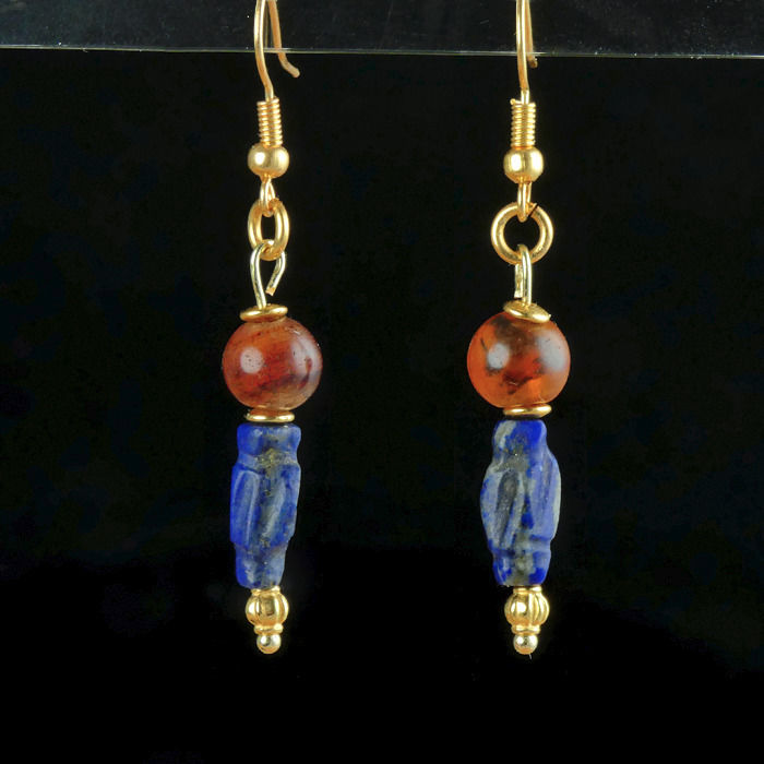 Ancient Egyptian Carnelian and Lapis Lazuli earrings - 53.4 mm - (1)