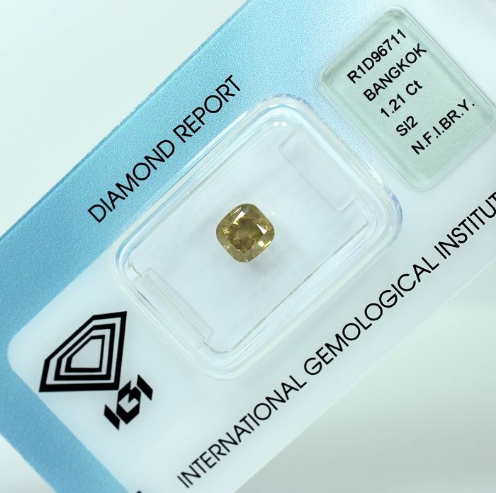 Diamant - 1.21 ct - Quadrat - Natural Fancy Intense Brownish Yellow - SI2