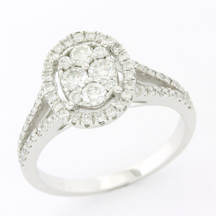 18 kraat Hvidguld - Ring - 0.78 ct Diamant