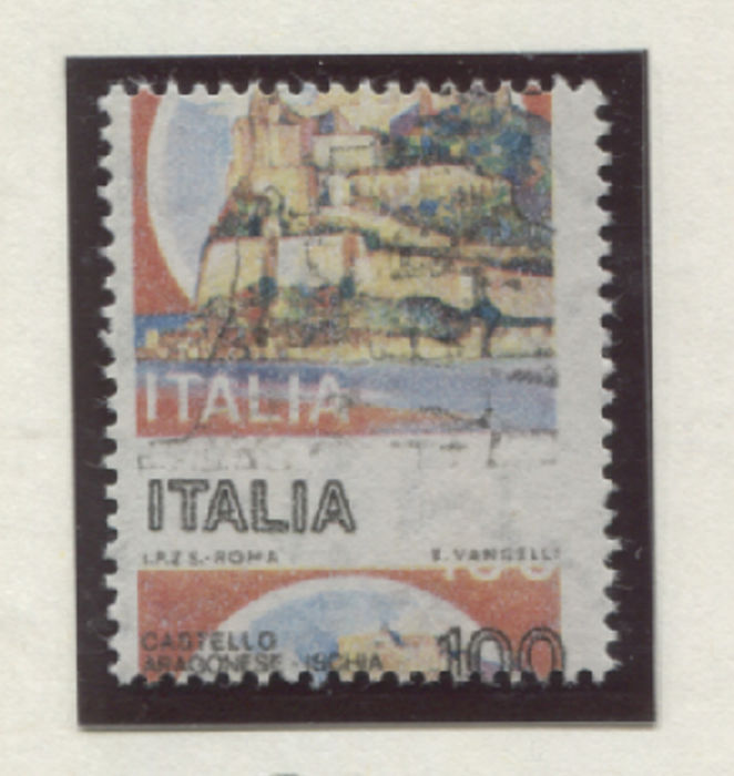 Italy Republic 1980 - 100 lire Castles 2 varieties with shifted perforation
