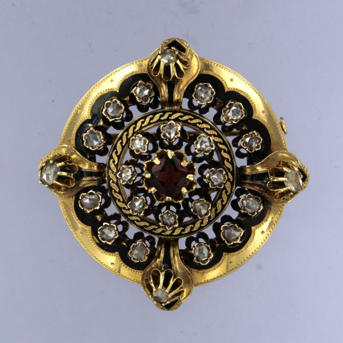 18 quilates Oro amarillo - Broche - 0.50 ct Diamante - Granate