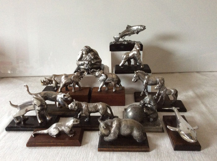 Beautiful collection of silver-plated WWF animals (15) - Silverplate