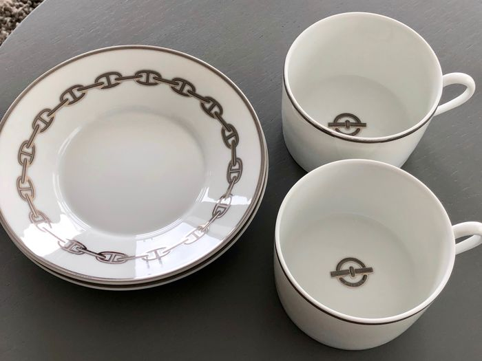 Hermes - cup and saucer - Chain d'Ancre Platinum (2) - Porcelain