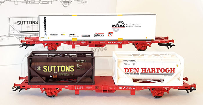 Märklin H0 - 47704 - Freight wagon set - Set with two container trucks - NS