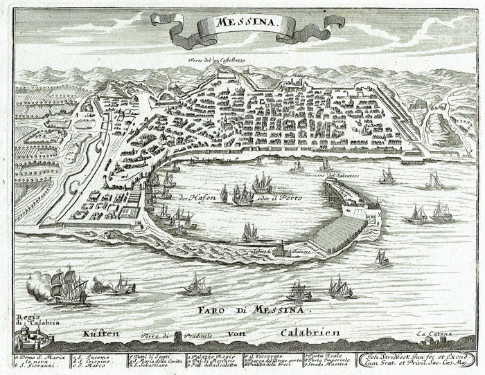 Italië, Sicilia, Messina; Johann Stridbeck - Messina - 1701-1720