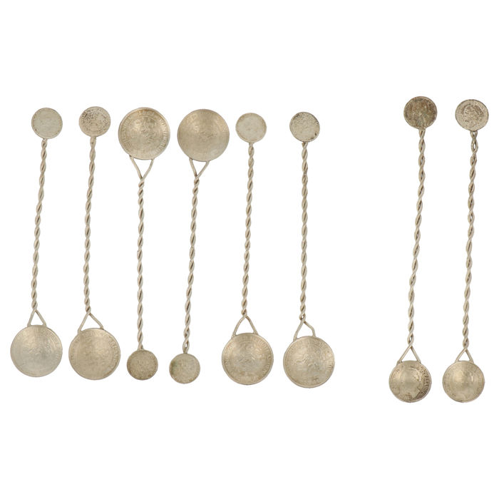 Mint spoons (8) - .835 silver - Netherlands - mid 20th century